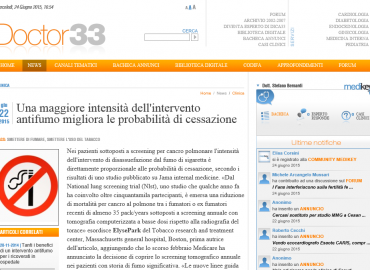 Doctor33: Una maggiore intensità dell'intervento antifumo migliora le probabilità di cessazione