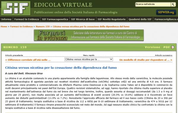 Edicola virtuale: Citisina versus nicotina per la cessazione della dipendenza dal fumo